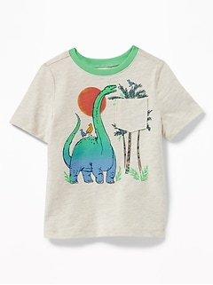 Dinosaur-Graphic Pocket Tee for Toddler Boys