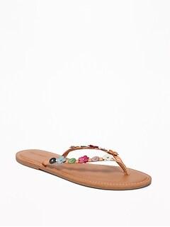Flower-Applique Capri Sandals for Women