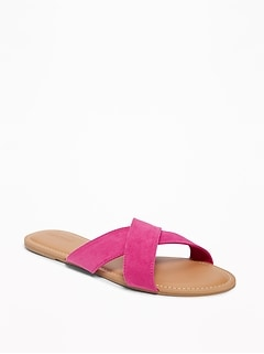 Sueded Cross-Strap Slide Sandals for Women