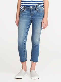 Distressed Raw-Edge Skinny Ankle Jeans for Girls