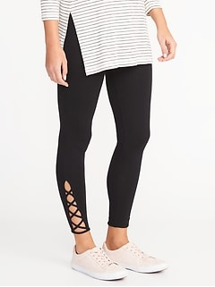 Lattice-Hem Ankle Leggings for Women