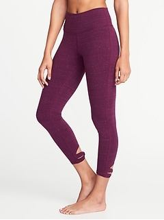 High-Rise 7/8-Length Knotted-Hem Yoga Leggings for Women