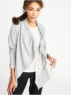 Cinched-Collar Open-Front Wrap for Women