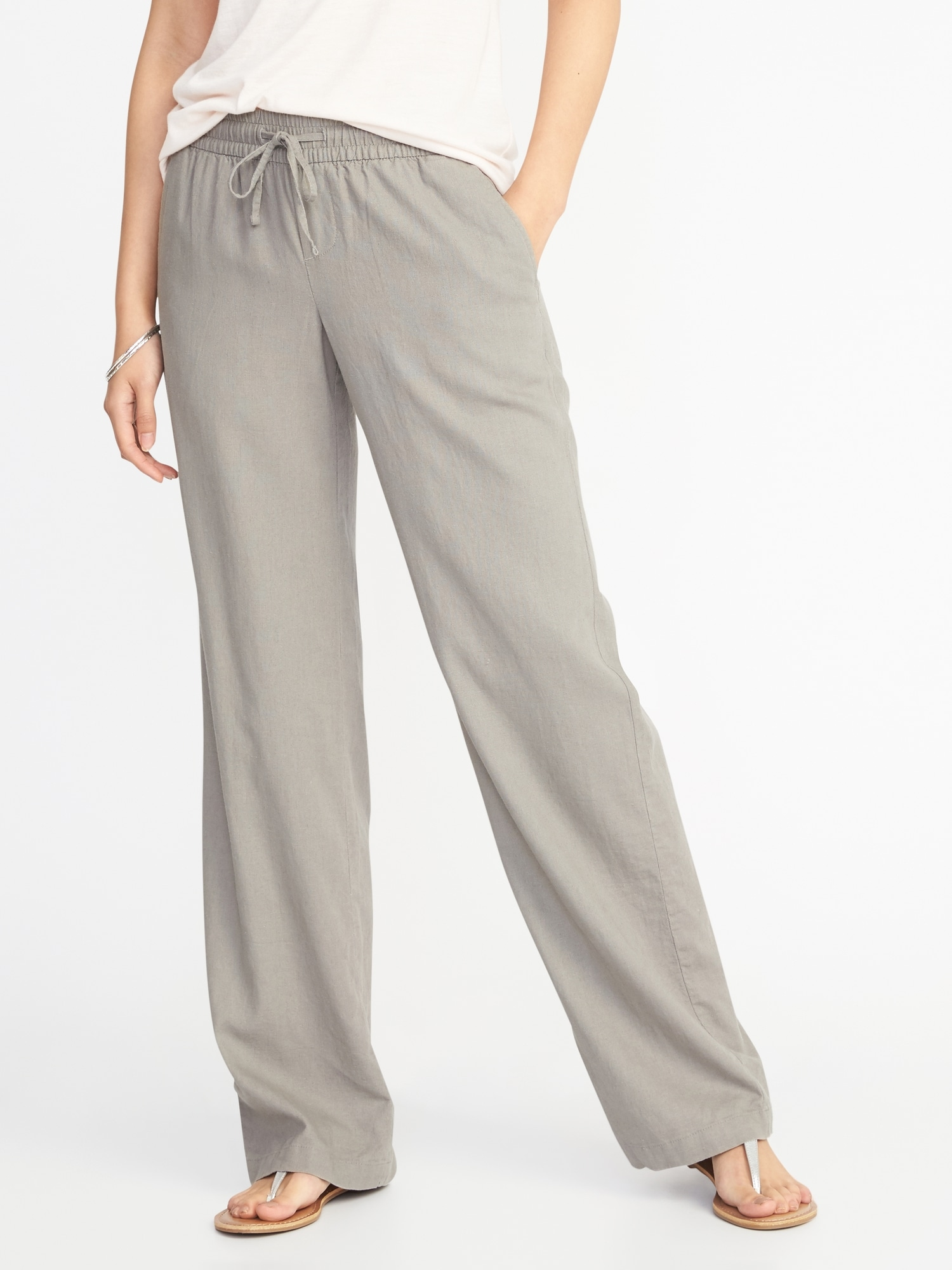 8a02b489c6 Mid-Rise Soft Wide-Leg Linen-Blend Pants for Women | Old Navy