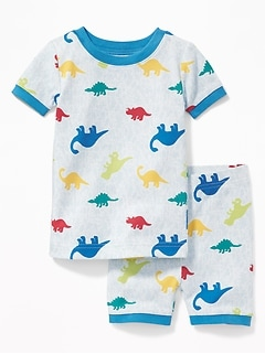 Dinosaur-Camo Print Sleep Set for Toddler Boys & Baby