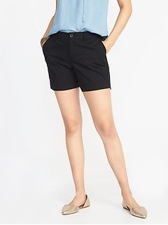 Mid-Rise Everyday Twill Shorts For Women - 5 inch inseam