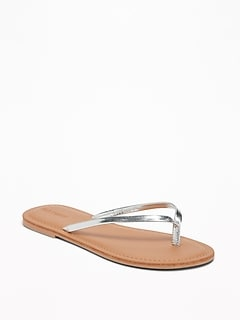 Metallic Faux-Leather Capri Sandals for Girls