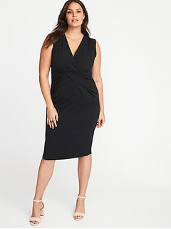 Sleeveless Plus-Size Cross-Front Sheath Dress
