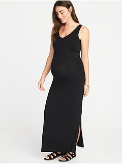 Maternity Sleeveless V-Neck Maxi Dress