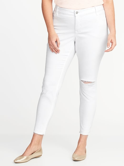 High-Rise Smooth & Slim Plus-Size Distressed Rockstar Ankle Jeans