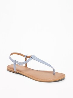 Chambray T-Strap Sandals for Women