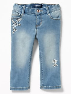 Floral-Embroidered Jeans for Toddler Girls
