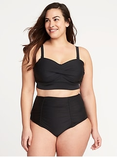 Plus-Size Twist-Front Long-Line Swim Top
