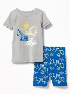 Construction-Graphic Sleep Set for Toddler Boys & Baby