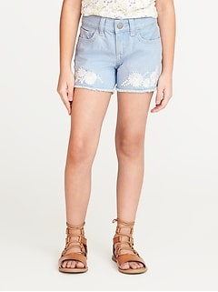 Floral-Embroidered Denim Cutoffs for Girls
