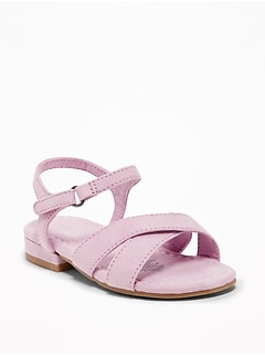 Sueded Cross-Strap Sandals For Toddler Girls