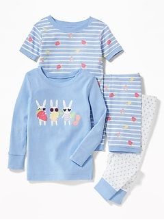 Bunny-Graphic 4-Piece Sleep Set for Toddler & Baby