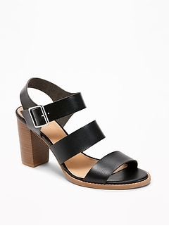 Three-Strap Block-Heel Sandals for Women