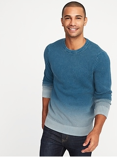 Garment-Dyed Textured Sweater for Men