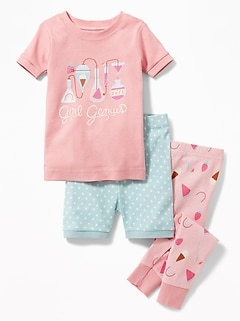 "3-Piece ""Girl Genius"" Graphic Sleep Set for Toddler & Baby"