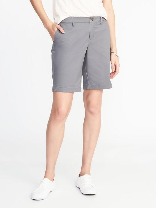 Mid-Rise Everyday Twill Shorts For Women - 9 inch inseam