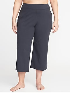 Plus-Size Wide-Leg Yoga Crops