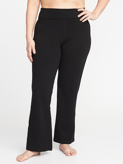 Roll-Over Plus-Size Wide-Leg Yoga Pants
