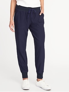 Mid-Rise Knit-Waist Performance Joggers for Women