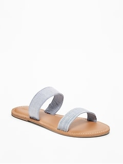 Chambray Double-Strap Sandals for Women