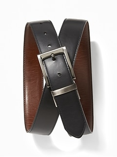 Faux-Leather Reversible Belt for Men