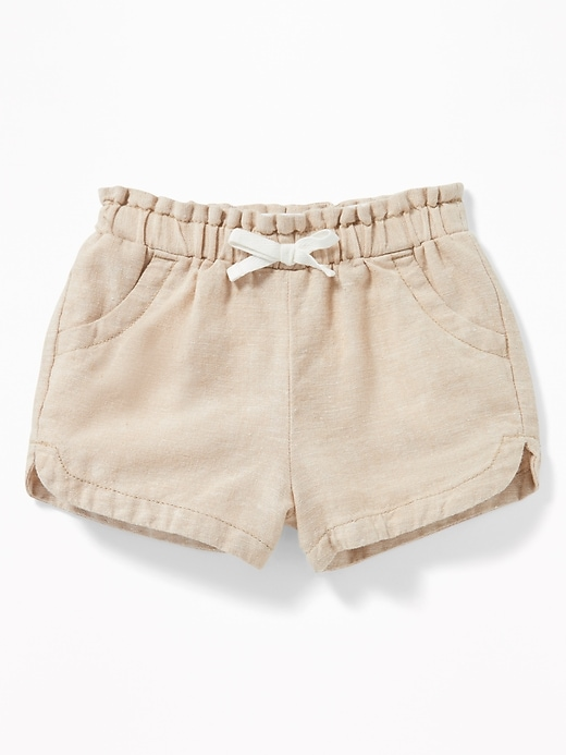 Linen-Blend Elasticized-Waist Shorts for Toddler Girls