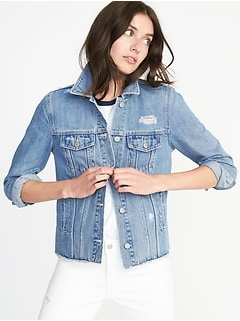 Distressed Raw-Edged Denim Jacket for Women