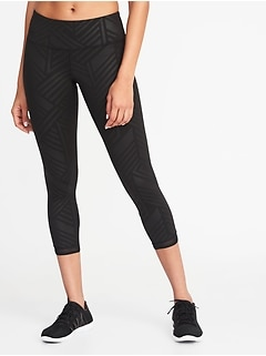 Mid-Rise Mesh-Trim Compression Crops for Women