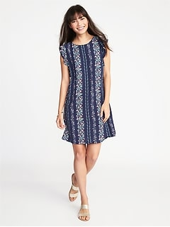 Ruffle-Trim Shift Dress for Women