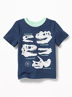 Dinosuar-Skull Graphic Tee for Toddler Boys