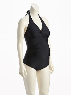 Maternity Twist-Front Halter Swimsuit