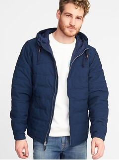 Hooded Quilted Poplin Jacket for Men