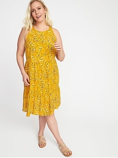 Floral-Print Plus-Size Tiered Swing Dress