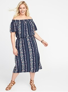 Off-the-Shoulder Plus-Size Midi Dress