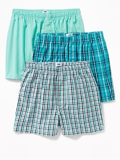 Patterned Poplin Boxers 3-Pack for Men