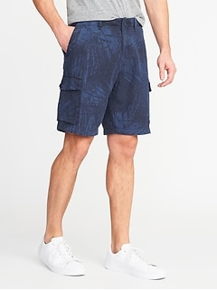 Linen-Blend Cargo Shorts for Men - 10 inch inseam