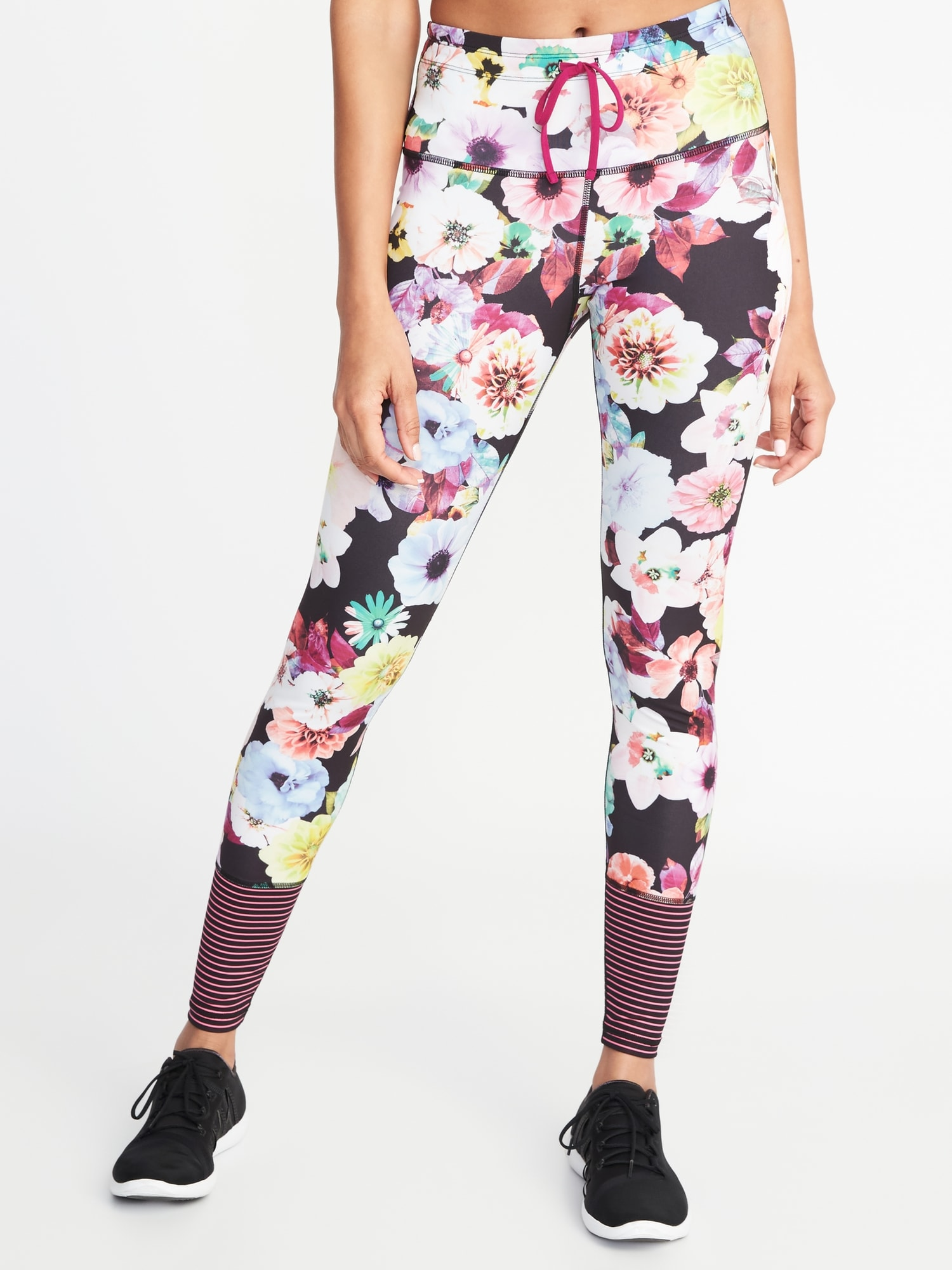 74429a7183c799 ShopandBox - Buy High-Rise Floral-Print Striped-Calf Compression Leggings  for Wome from US