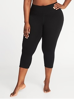 Mid-Rise Plus-Size Fitted Yoga Crops