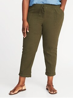 Mid-Rise Plus-Size Linen-Blend Cropped Pants