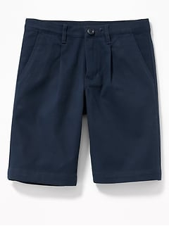 Pleated Built-In Flex Straight Uniform Shorts for Boys