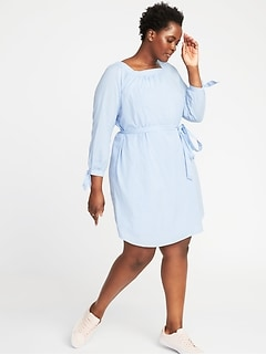Square-Neck Plus-Size Tie-Belt Shift Dress