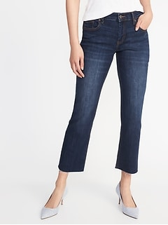 Raw-Edge Cropped Flare Ankle Jeans for Women