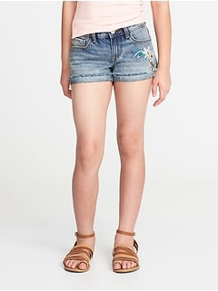 Embroidered-Flower Cuffed Denim Shorts for Girls