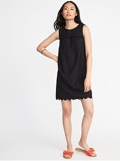 Scalloped-Yoke Eyelet Shift Dress for Women