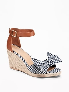 Gingham Bow-Tie Espadrille Wedges for Women